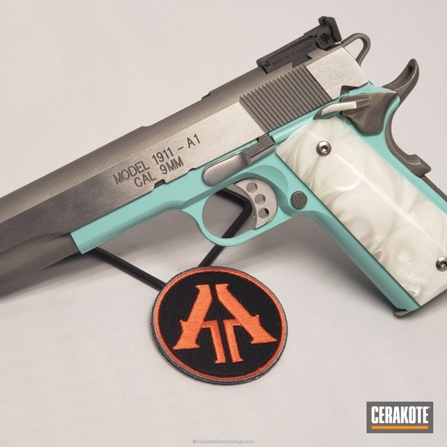 Smaller version of the 1st project picture. Springfield, 1911, Pistol, Springfield 1911, Robin's Egg Blue H-175Q, 1911 9mm