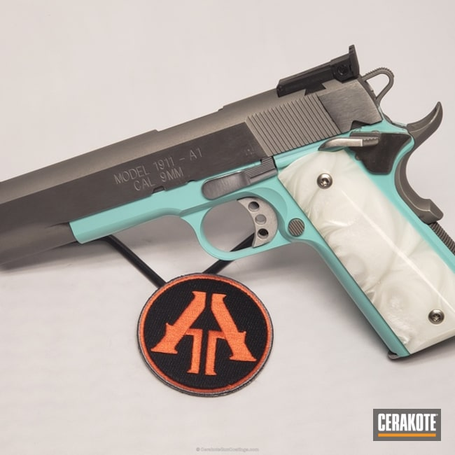 Smaller version of the 2nd project picture. Springfield, 1911, Pistol, Springfield 1911, Robin's Egg Blue H-175Q, 1911 9mm
