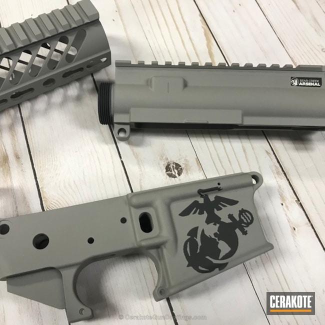 Cerakoted: Steel Grey H-139,Solid Tone,Gun Parts,Marine Corp Logo,AR-15