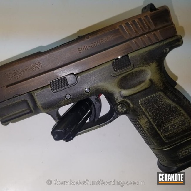 Cerakoted: TROY® COYOTE TAN H-268,Springfield XD-40,Armor Black H-190,Pistol,Springfield Armory,Noveske Bazooka Green H-189
