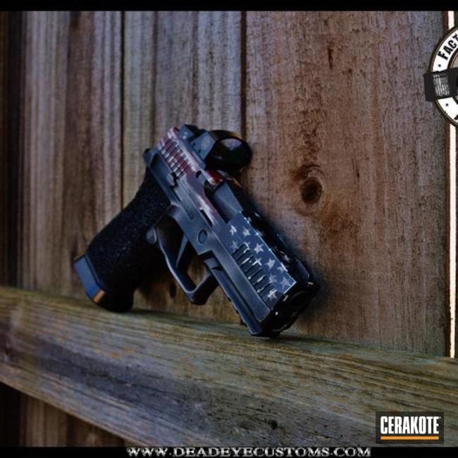 Cerakoted: Sig Sauer P320,FIREHOUSE RED H-216,Snow White H-136,Graphite Black H-146,Stippled,Sig P320 X-Carry,Pistol,Tattered Flag,Sky Blue H-169