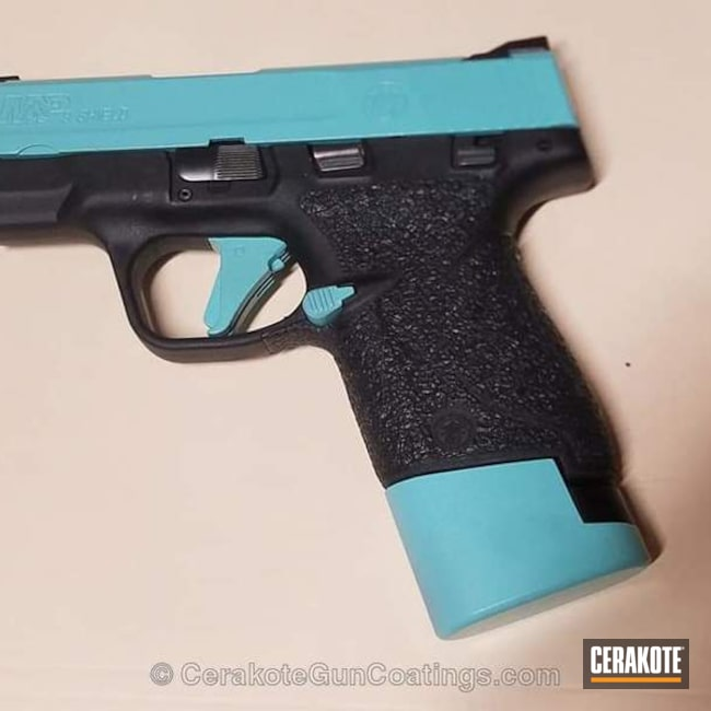 Cerakoted: Robin's Egg Blue H-175,Two Tone,Smith & Wesson,Smith & Wesson M&P,Pistol,Ladies