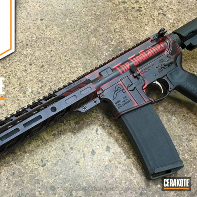 Cerakoted: Aero Precision,The Godfather,FIREHOUSE RED H-216,Movie Theme,Armor Black H-190,Tactical Rifle