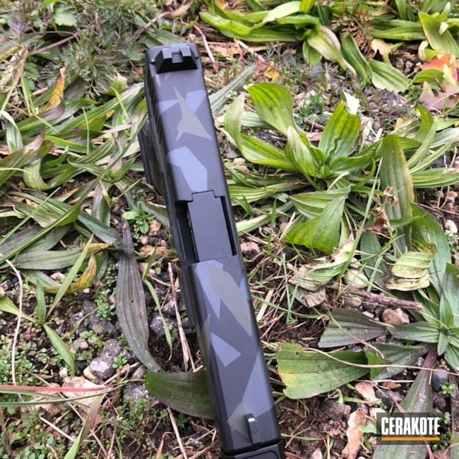 Cerakoted: Sniper Grey H-234,Graphite Black H-146,Mil Spec O.D. Green H-240,Pistol,Glock,Splinter Camo,Glock 17,Sharp Edge Camo