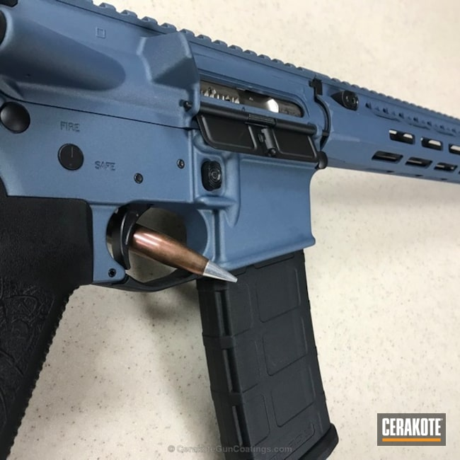 Cerakoted: Graphite Black H-146,Tactical Rifle,Blue Titanium H-185,AR-15