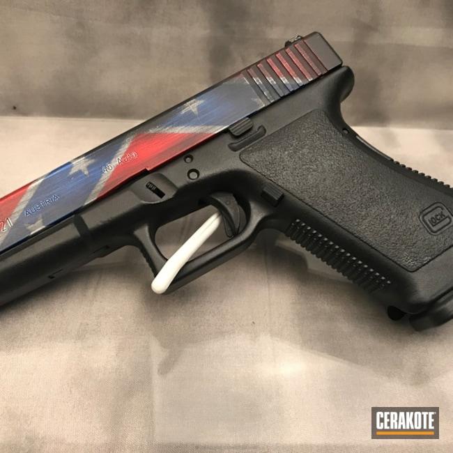 Cerakoted: Bright White H-140,NRA Blue H-171,Confederate Flag,Graphite Black H-146,Distressed,USMC Red H-167,Pistol,Glock