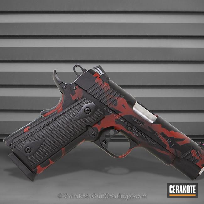 Cerakoted: Remington 1911 R1,Graphite Black H-146,Crimson H-221,Pistol,Sharp Edge Camo,1911,Remington
