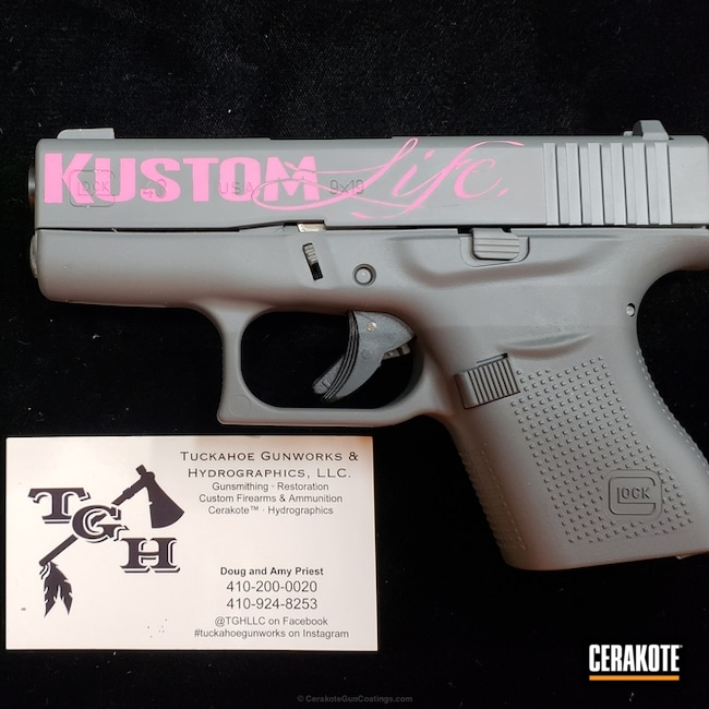 Cerakoted: Cerakote Elite Series,Solid Tone,Pistol,Glock,Concrete E-160,Prison Pink H-141,Elite,Concrete E-160G,Glock 43