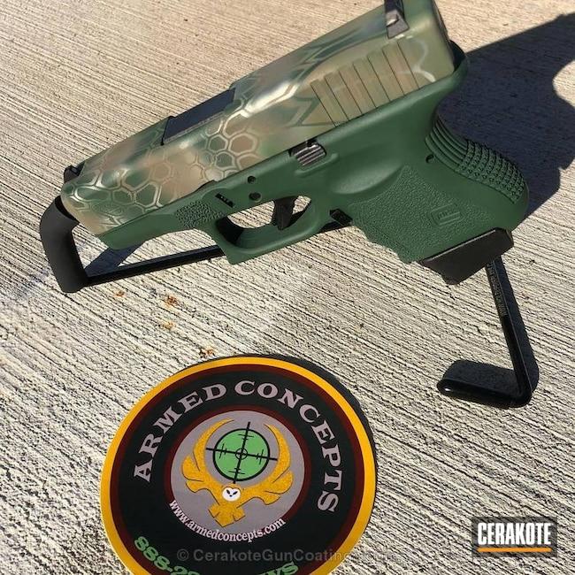 Cerakoted: Shimmer Aluminum H-158,Kryptek,Desert Sand H-199,Camo,Pistol,Glock,Glock 27,Jesse James Eastern Front Green H-400