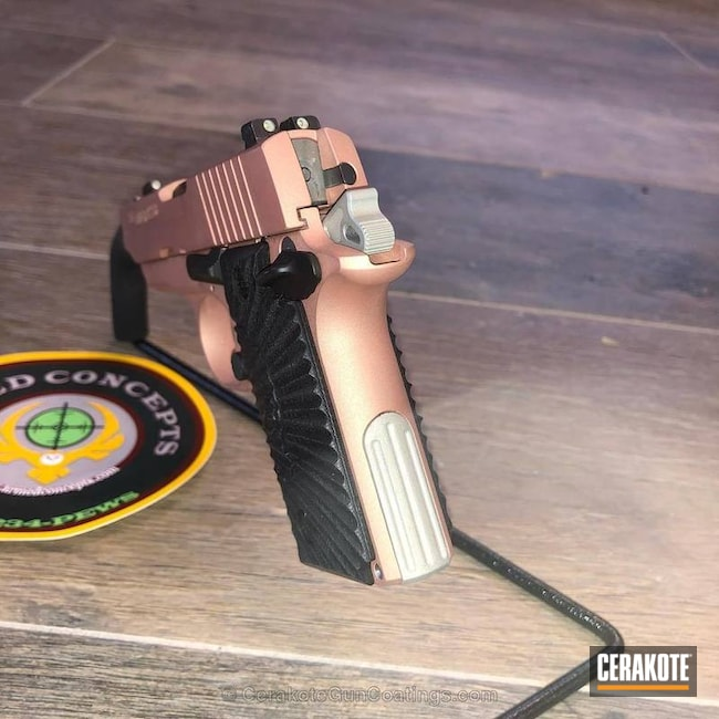 Cerakoted: Custom Mix,Shimmer Aluminum H-158,Sig Sauer P238,Rose Gold,USMC Red H-167,Pistol,Sig Sauer,Gold H-122
