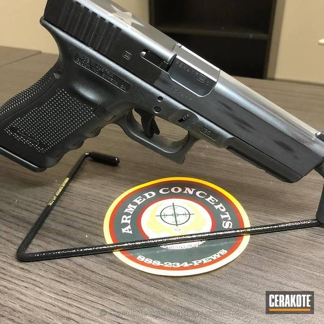 Cerakoted: Sniper Grey H-234,Battleworn,Battleworn Flag,Graphite Black H-146,Pistol,Titanium H-170,Glock,Glock 22,Texas Flag,Distressed Texas Flag