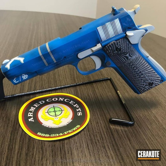 Cerakoted: Shimmer Aluminum H-158,Sea Blue H-172,Graphite Black H-146,American Tactical Imports,Stormtrooper White H-297,American Tactical,Pistol,1911,Government Model 1911