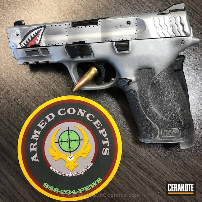 Cerakoted: Shimmer Aluminum H-158,Warbird,Smith & Wesson M&P Shield EZ,Smith & Wesson,USMC Red H-167,Smith & Wesson M&P,Armor Black H-190,Pistol