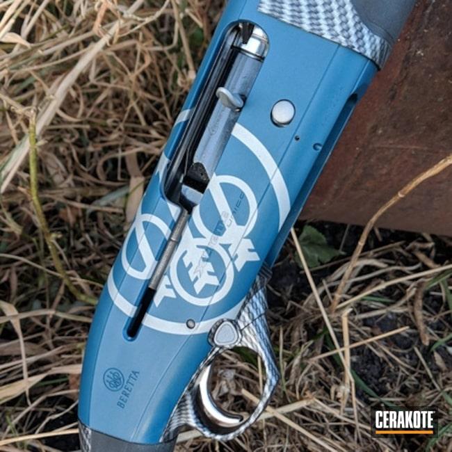 Cerakoted: Satin Mag H-147,Hydrographics,Corvette Yellow H-144,NRA Blue H-171,Shotgun,Custom Color,Graphite Black H-146,Beretta A400,Custom Stenciling,Benelli Super Black Eagle III,Blue Titanium H-185