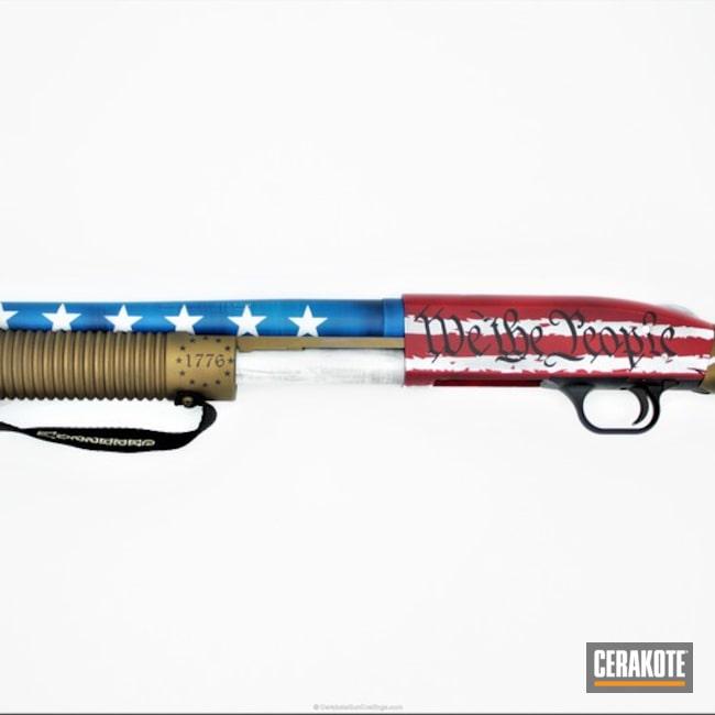 Cerakoted: Bright White H-140,NRA Blue H-171,FIREHOUSE RED H-216,Shotgun,Distressed American Flag,Burnt Bronze H-148,American Flag,We the people,1776,2nd Amendment,Mossberg Shockwave