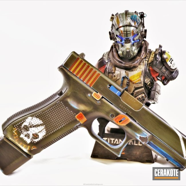Cerakoted: Custom Mix,Video Games,Pistol,Glock 17,Taran Tactical,Bright White H-140,Video Game Theme,NRA Blue H-171,Glock,Theme,Hunter Orange H-128,Titanfall,videogame