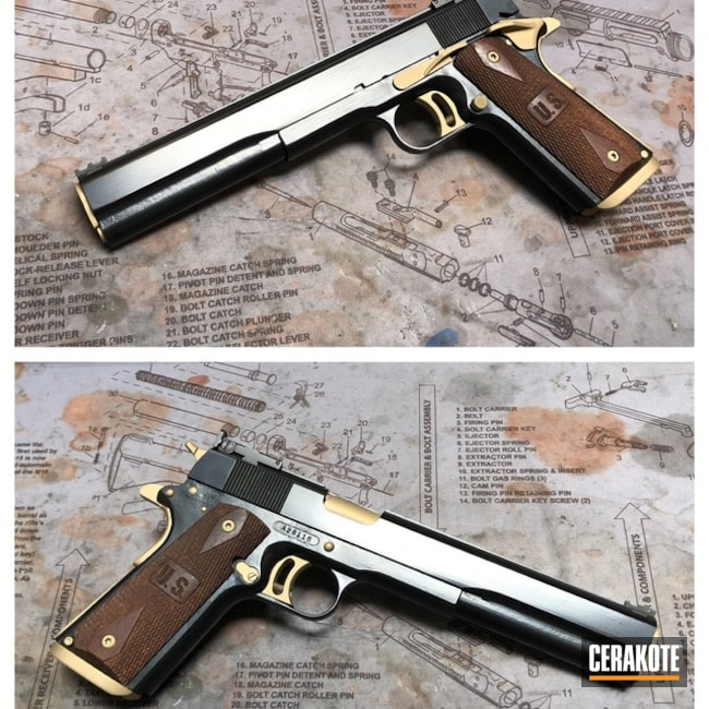 Cerakoted: Graphite Black H-146,Pistol,1911,Gold H-122