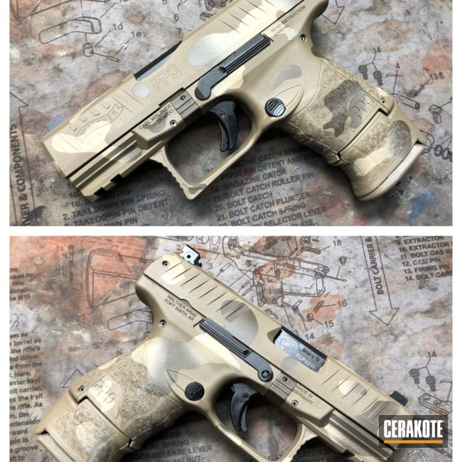 Cerakoted: Walther PPQ,Desert Sand H-199,Patriot Brown H-226,Pistol,Flat Dark Earth H-265