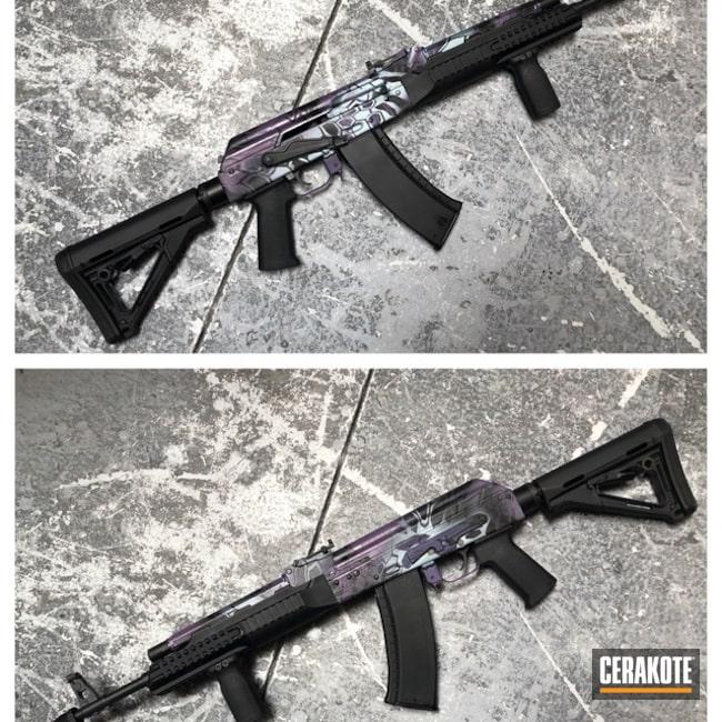 Cerakoted: Kryptek,Wild Purple H-197,Satin Aluminum H-151,AK-47,Blue Titanium H-185