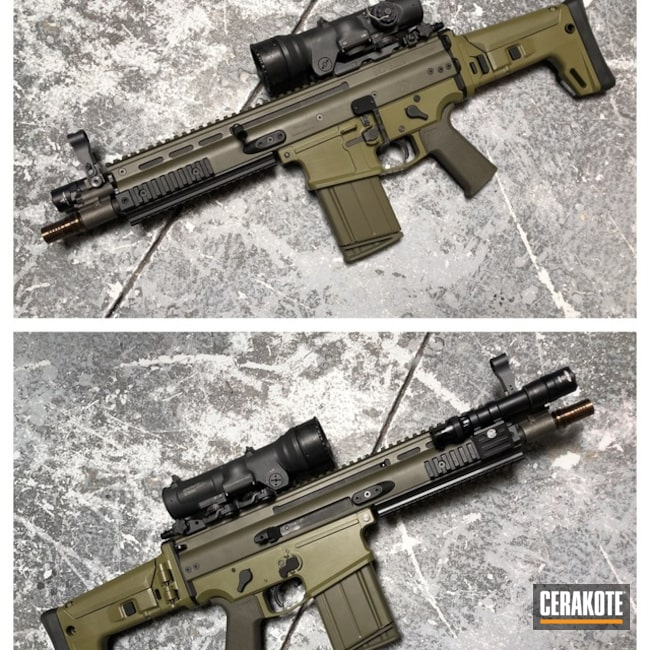 Cerakoted: SCAR,Two Tone,Tactical Rifle,Noveske Bazooka Green H-189,MAGPUL® O.D. GREEN H-232
