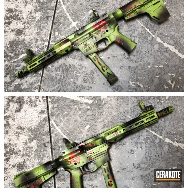 Cerakoted: Zombie,AR Pistol,Graphite Black H-146,Zombie Green H-168,USMC Red H-167,Tactical Rifle