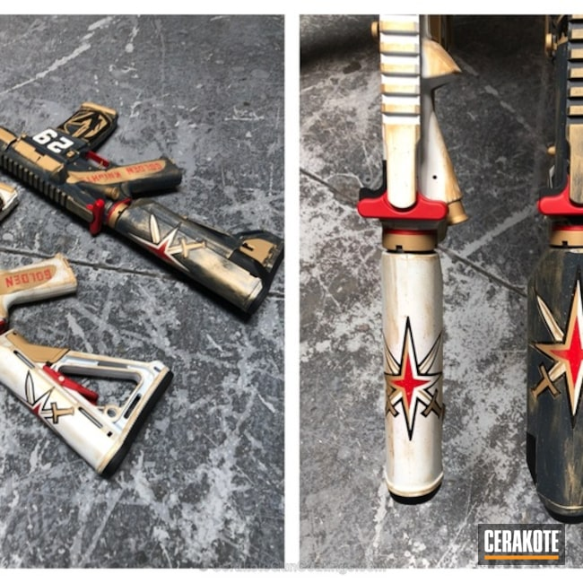 Cerakoted: Hockey Theme,Sniper Grey H-234,Stormtrooper White H-297,USMC Red H-167,NHL,Golden Knights,Tactical Rifle,Sports Theme,Gold H-122