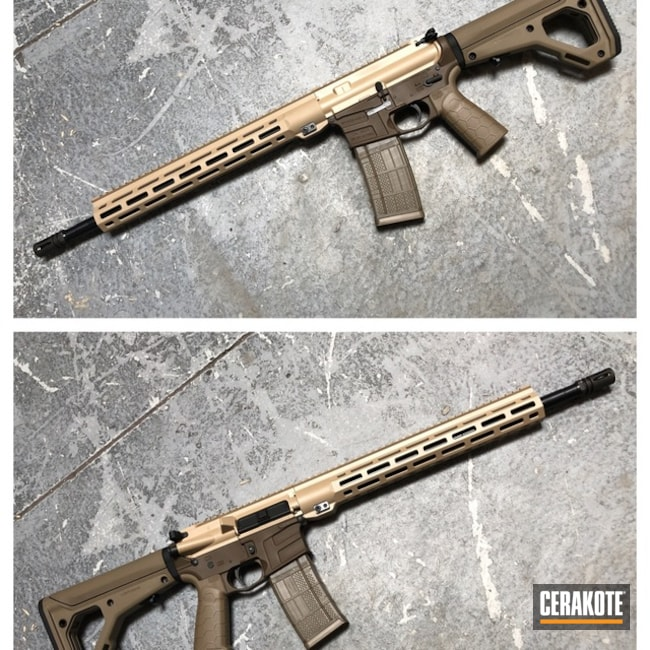 Two Toned Savage Arms Tactical Rifle done in Desert Sand and Patriot Brown