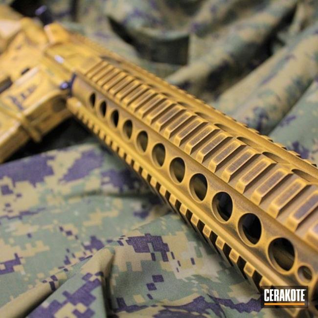 Cerakoted: Custom Mix,Patriotic,Battleworn,Dont Tread On Me,Ral 8000 H-8000,Gen II Graphite Black HIR-146,America,Tactical Rifle,2nd Amendment,AR-15