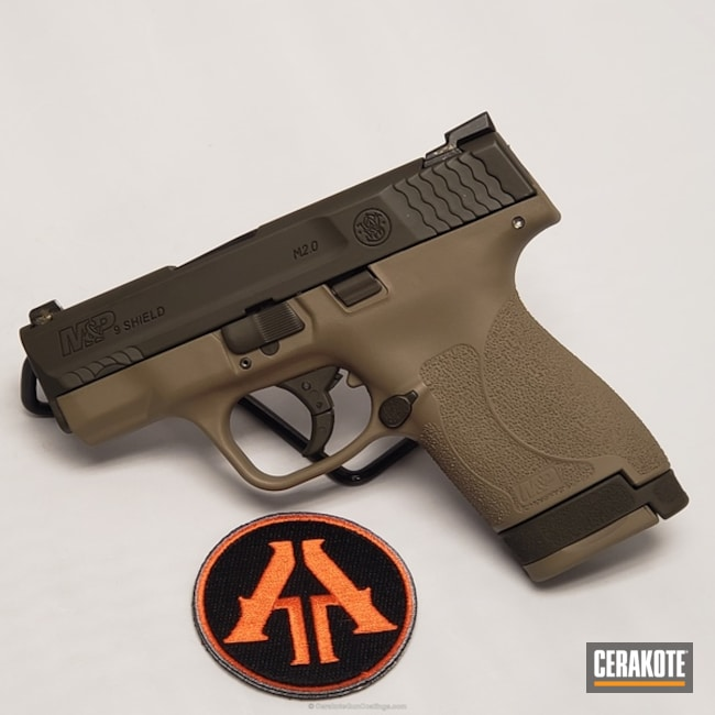 Cerakoted: 9mm,MAGPUL® FLAT DARK EARTH H-267,Two Tone,Smith & Wesson,Pistol,MAGPUL® O.D. GREEN H-232,M&P Shield