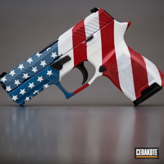 Cerakoted: Hidden White H-242,Sig Sauer P320,NRA Blue H-171,USMC Red H-167,Pistol,American Flag,Sig Sauer