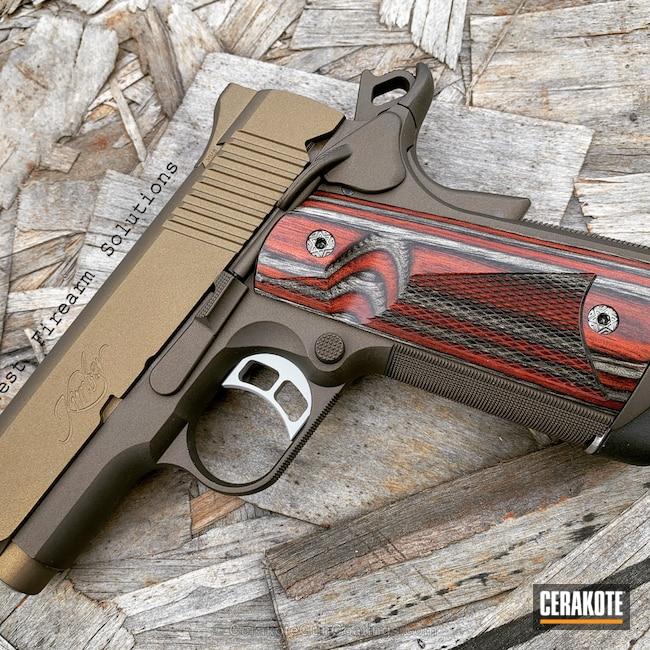 Cerakoted: Kimber 1911,Kimber Pro Carry II,Kimber,Burnt Bronze H-148,Pistol,Midnight Bronze H-294