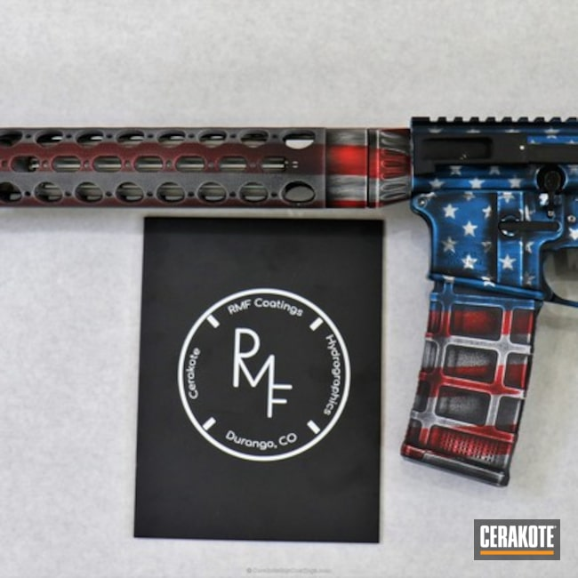 Cerakoted: NRA Blue H-171,Snow White H-136,Graphite Black H-146,Distressed,USMC Red H-167,Tactical Rifle,American Flag