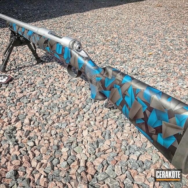 Cerakoted: Bolt Action Rifle,Graphite Black H-146,Tungsten H-237,Satin Aluminum H-151,Geometric Camo,Sky Blue H-169