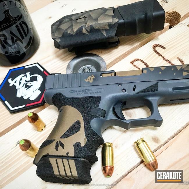 Cerakoted: Burnt Bronze H-148,Stippled,Pistol,Glock,Combat Grey H-130