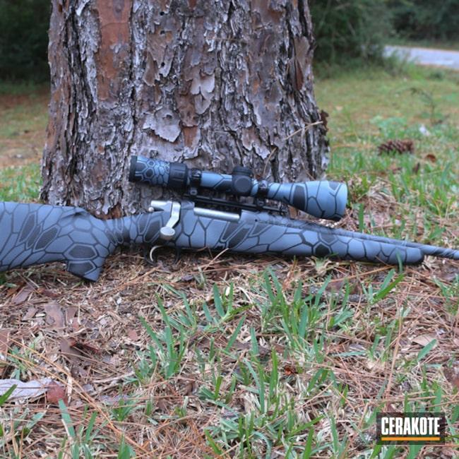Cerakoted: Bright White H-140,Bolt Action Rifle,Graphite Black H-146,Custom Camo