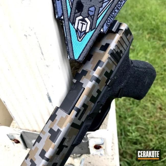 Cerakoted: 10mm,Digital Camo,Tungsten H-237,Stippled,Burnt Bronze H-148,Armor Black H-190,Glock,EDC