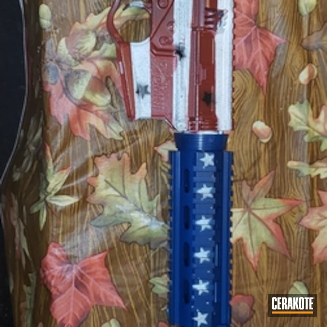 Cerakoted: Snow White H-136,Crimson H-221,American Flag,Golf Ball Launcher,Sky Blue H-169