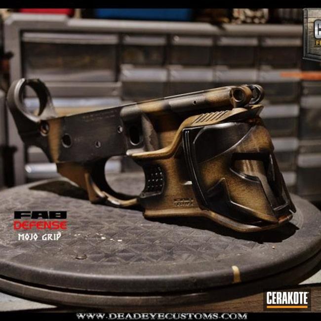 Cerakoted: Woodgrain,Mojo Magwell Grip,Graphite Black H-146,Wood Grain Pattern,Stainless H-152,Tactical Rifle,Custom Cerakote,Light Sand H-142