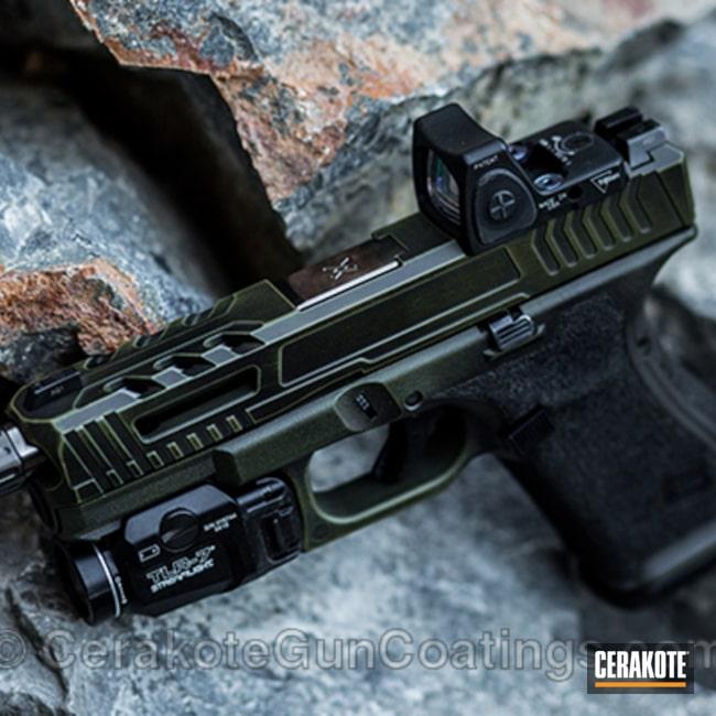 Cerakoted: Gen II Graphite Black HIR-146,Pistol,Glock,Noveske Bazooka Green H-189