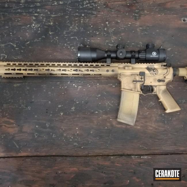 Cerakoted: Aero Precision,Bear Creek Arsenal,Graphite Black H-146,Distressed,Tactical Rifle,Gold H-122