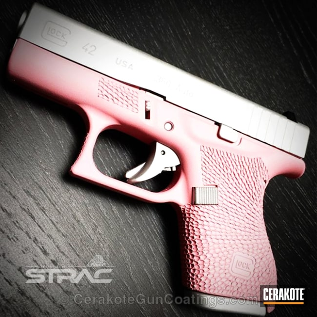 "Thumbnail image for project ""H-141 Prison Pink Frame on this Stippled Glock 42 Handgun"""