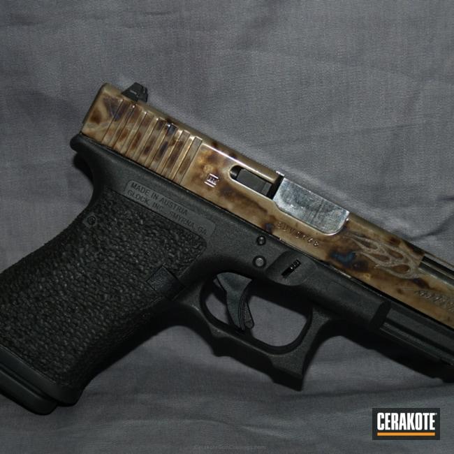 Cerakoted: Glock 19,Color Case Hardened,Graphite Black H-146,Stippled,Pistol,Glock,HIGH GLOSS ARMOR CLEAR H-300