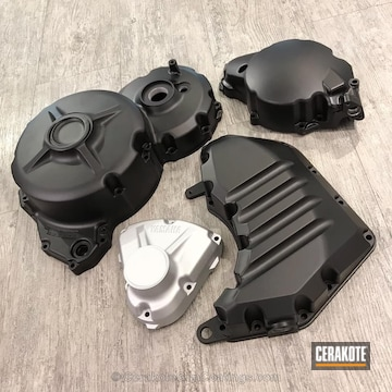Cerakoted Yamaha Motorcycle Covers In Graphite Black And Satin Aluminum