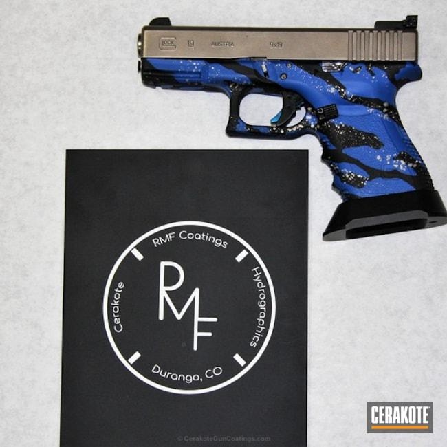 Cerakoted: Glock 19,Shimmer Aluminum H-158,NRA Blue H-171,Graphite Black H-146,Pistol,Glock,Marble Splash