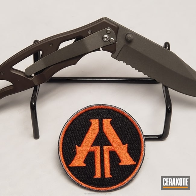 Thumbnail version of the 2nd project picture. Gerber, Not Just Guns, EDC, Gun Metal Grey H-219Q, Folding Knife, Vortex Bronze H-293Q