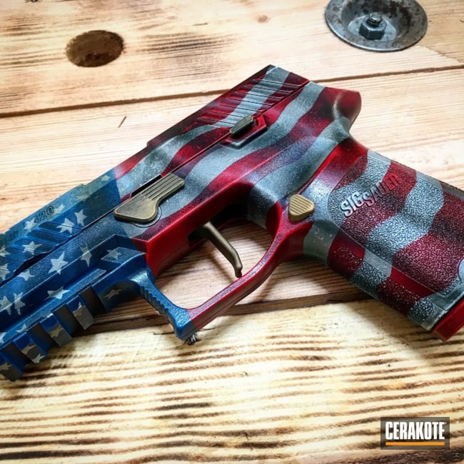 Cerakoted: Snow White H-136,Sig Sauer P220,Graphite Black H-146,Pistol,American Flag,Sig Sauer,Sky Blue H-169