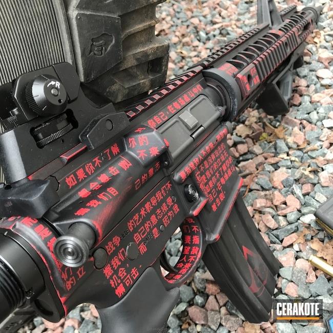 Cerakoted: FIREHOUSE RED H-216,Custom,Cerakote France,Graphite Black H-146,Tactical Rifle