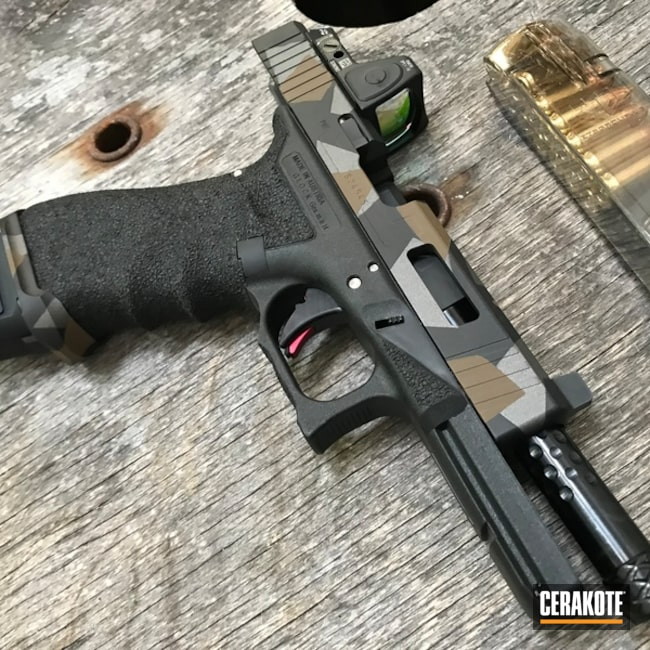 Cerakoted: Graphite Black H-146,Tungsten H-237,Stippled,Burnt Bronze H-148,Pistol,Glock,Splinter Camo,Glock 17