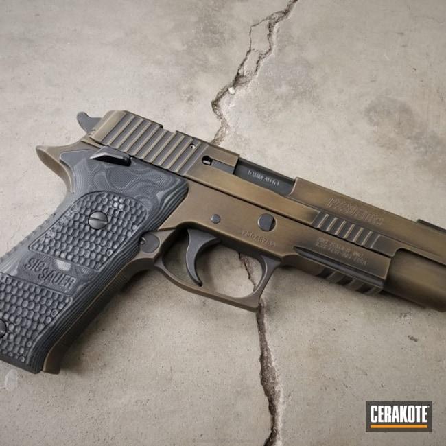 Cerakoted: Graphite Black H-146,Distressed,Burnt Bronze H-148,Pistol,Sig Sauer