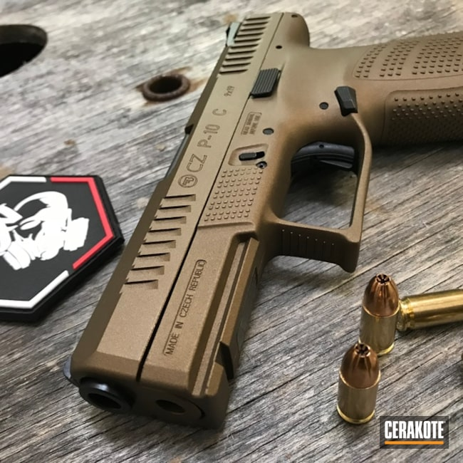 Cerakoted: CZ P10C,CZP 10,Burnt Bronze H-148,Solid Tone,Pistol,CZ